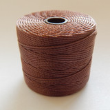 Brown - S-Lon Tex 210 Nylon bead Cord, 77 Yards, 1 Spool, Kumihimo, Macrame, Crochet, Stringing