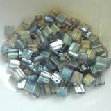 Tila 5 grams Transparent Dark Grey Rainbow Luster 2-Hole 5mm Square Miyuki Beads No. 2440d