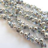 6x5mm Mushroom (50 beads) - Crystal Silver Rainbow - Czech Glass