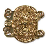 Quantity 1 - Push Pull Clasp 2-Strand - 9x14mm Rectangle Filigree - Gold Plated