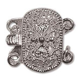 Quantity 1 - Push Pull Clasp 2-Strand - 9x14mm Rectangle Filigree - Silver Plated