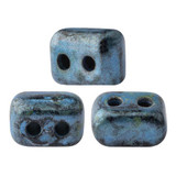 IOS® PAR PUCA® (50 Beads) - Metallic Matte Blue Spotted - 5.5x2.5mm 2-hole Rectangle