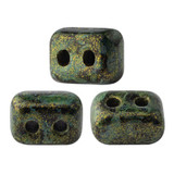 IOS® PAR PUCA® (50 Beads) - Metallic Matte Green Spotted - 5.5x2.5mm 2-hole Rectangle