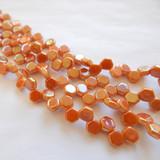 Two Hole Honeycomb (30 Beads) - Chalk Apricot - Czech Glass