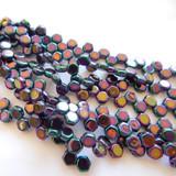 Two Hole Honeycomb (30 Beads) - Jet Purple Iris - Czech Glass