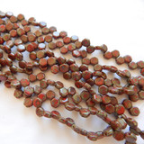 Two Hole Honeycomb (30 Beads) - Red Travertin - Czech Glass