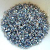 11/o TOHO Triangle Seed Beads 20 grams - Gold Lined Light Sapphire Rainbow - Glass Beads No. 997