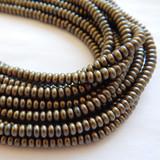 100 Beads - 4mm Rondelle - Matte Metallic Leather - Czech Glass