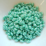 10 grams - Superduo Green Turquoise White Luster - Czech Glass by Matubo