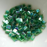 Tila 5 grams Transparent Green AB 2-Hole 5mm Square Miyuki Beads No. 179