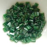 Tila 5 grams Matte Transparent Green Picasso 2-Hole 5mm Square Miyuki Beads No. 4507