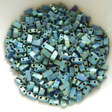 Half Tila Two Hole Beads - Matte Metallic Blue Green Iris - 5 Grams Miyuki Glass Beads No. 2064