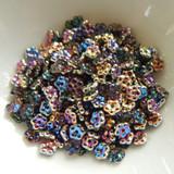 5mm Flat Daisy - 100 Beads - Pink, Gold, Blue - Czech Glass
