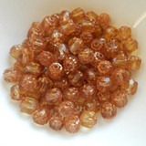6mm Crown Cathedral - 25 Beads - Honey Topaz Antiqued Bronze - Czech Glass