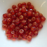 6mm Crown Cathedral - 25 Beads - Siam Red Antiqued Bronze - Czech Glass