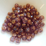 6mm Crown Cathedral - 25 Beads - Picasso Amethyst Antiqued Bronze - Czech Glass