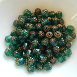6mm Crown Cathedral - 25 Beads - Emerald Green Antiqued Bronze - Czech Glass