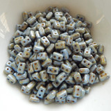 IOS® PAR PUCA® (50 Beads) - Opaque Blue Green Spotted - 5.5x2.5mm 2-hole Rectangle