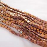 25 Beads - 6mm Tile, 2-Hole - Opaque Gold Smoky Topaz Luster - Czech Glass