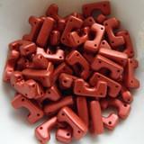12 Beads - Telos® par Puca® Paris - Red Metallic Matte - Czech Glass