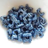 12 Beads - Telos® par Puca® Paris - Metallic Matte Blue Spotted - Czech Glass