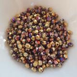100 Beads - 4mm Firepolish - Etched California Purple - Czech Glass