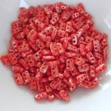 5 grams - Piros® par Puca® Paris - Opaque Coral Red Splash - Czech Glass