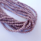 100 Beads - Melon 3mm Opaque Lilac Luster - Czech Glass
