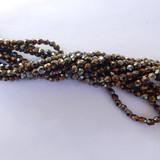 100 Beads - Firepolish 3mm Brown Iris - Czech Glass