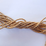 100 Beads - 2mm Druk - Matte Metallic Flax, Light Gold - Czech Glass Rounds