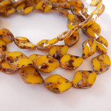 4 Beads - 18x12mm Twisted Oval Table Cut Milky Yellow Picasso, Czech Glass