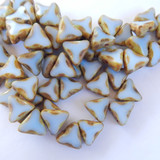 6 Beads - 13mm Triangle Table Cut 2-Hole, Light Blue Picasso, Czech Glass