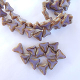 6 Beads - 13mm Triangle Table Cut 2-Hole, Light Purple Picasso, Czech Glass
