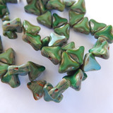 6 Beads - 13mm Triangle Table Cut 2-Hole, Green Picasso, Czech Glass