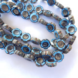 6 Beads - 14mm Hawaiian Flower Table Cut, Blue Black Bronze Picasso, Czech Glass
