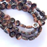 6 Beads - 14mm Hawaiian Flower Table Cut, Pink Black, Czech Glass