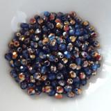 50 Beads - 4mm Fire Polished Round - Blue Sliperit - Czech Glass