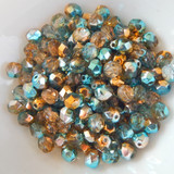25 Beads - 6mm Fire Polished Round - Light Teal, Sunny Gold - Czech Glass