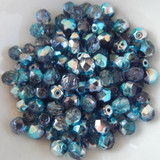 25 Beads - 6mm Fire Polished Round - Lagoon Blue Half Coat - Czech Glass