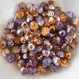 25 Beads - 6mm Fire Polished Round - Purple Yellow Gold Pansy - Czech Glass