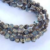 10 Beads - 10mm Hawaiian Flower Table Cut, Light Blue Black, Czech Glass