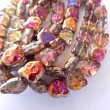 8 Beads - 13x12mm Cat Face, Crystal Sliperit, Czech Glass