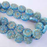 2 Beads - 18mm Coin Flower, Light Blue with Gold, Pressed Czech Glass