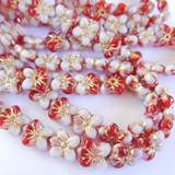 10 Beads - 14x12mm Flower, Red and White with Gold, Czech Glass, Single Hole