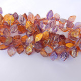 25 Beads - 7x12mm Leaf Top-drill- Lavender and Sunny Gold - Czech Glass Beads