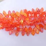 25 Beads - 7x12mm Leaf Top-drill- Pink and Gold - Czech Glass Beads