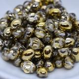 20 Beads - Candy Oval 6x8mm Crystal Amber 2-Hole Czech Glass