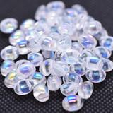 20 Beads - Candy Oval 6x8mm Crystal AB 2-Hole Czech Glass