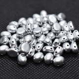 20 Beads - Candy Oval 6x8mm Aluminum Silver Bronze 2-Hole Czech Glass