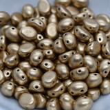 20 Beads - Candy Oval 6x8mm Bronze Pale Gold 2-Hole Czech Glass